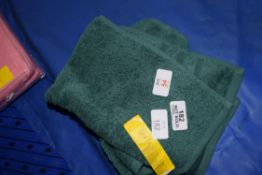 PAIR OF GREEN HAND TOWELS