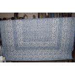 Flat weave blue rug, 200 x 290cm