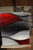 Zipcode design rug, Janiya, in red/grey, 60 x 110cm. RRP £21.99