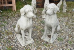 PAIR OF SEATED HOUNDS, HEIGHT APPROX 73CM