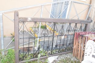DECORATIVE TIMBER AND IRON GATE, WIDTH APPROX 245CM, HEIGHT 126CM