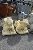 TWO COMPOSITE GARDEN STATUES, HEIGHT APPROX 40CM