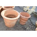 TWO TERRACOTTA PLANT POTS, APPROX HEIGHT 32CM
