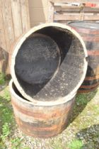 PAIR OF HALF WHISKY BARREL PLANTERS, HEIGHT APPROX 45CM