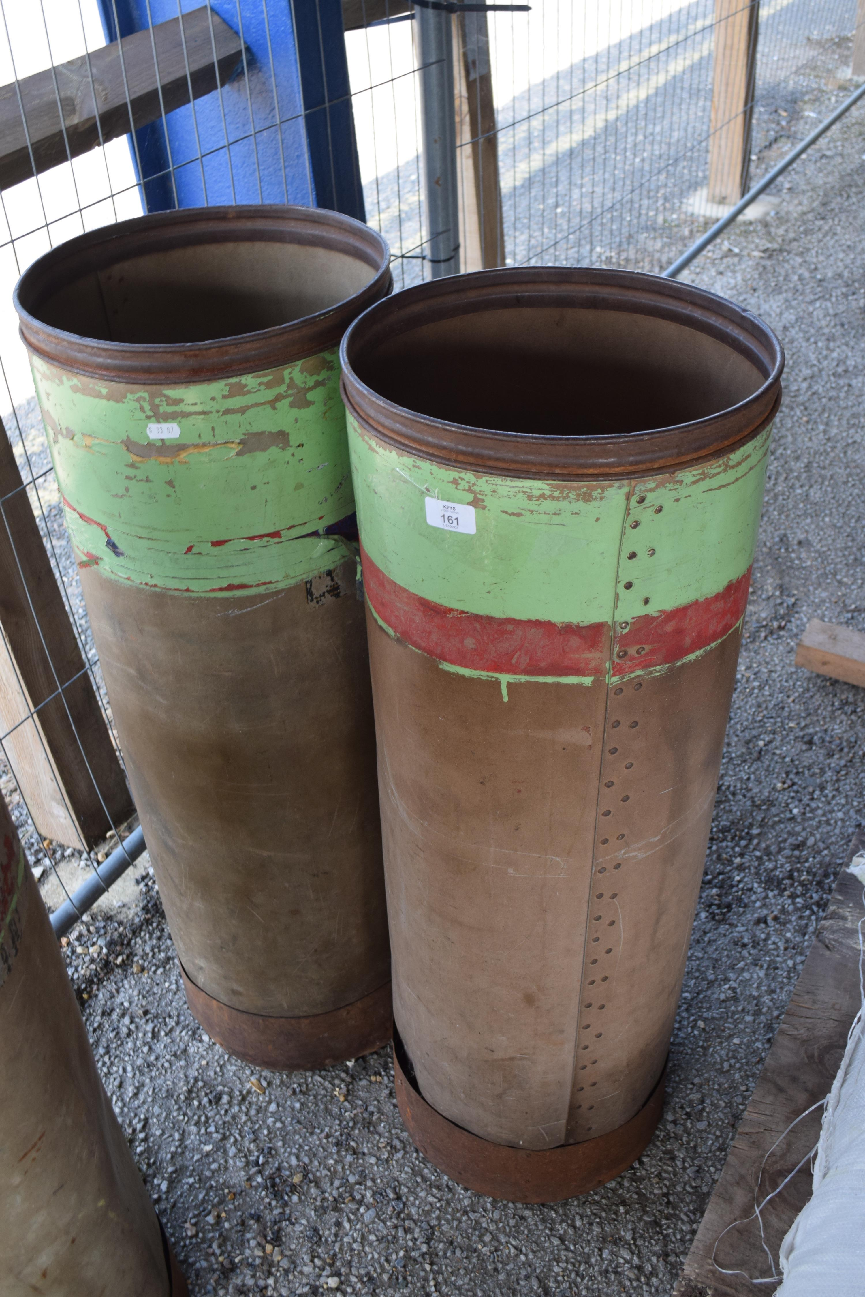 PAIR OF VINTAGE STORAGE CONTAINERS, HEIGHT 90CM