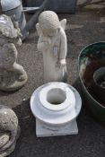 SMALL MARBLE GARDEN URN WITH ONE OTHER STATUE, HEIGHT 50CM