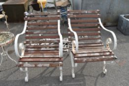PAIR OF GARDEN CHAIRS, WIDTH APPROX 62CM