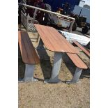 Industrial standard pub table and 2 benches with galvanised legs and rot proof tops