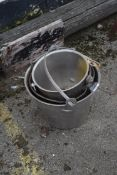 QTY OF STAINLESS BUCKETS