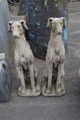 TWO LARGE SEATED WHIPPETS, HEIGHT APPROX 82CM