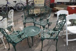 ALUMINIUM GARDEN SET WITH FOUR CHAIRS AND A SMALL COFFEE TABLE