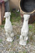 PAIR OF SEATED WHIPPETS, HEIGHT 75CM