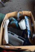 BOX OF VARIOUS CLEARANCE ITEMS TO INCLUDE LIGHTS, DRILL BITS, CAR BATTER CHARGERS ETC