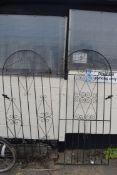 PAIR OF METAL DECORATIVE GARDEN GATES, WIDTH 85CM
