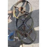 3 cast iron wheels