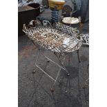 DECORATIVE CONSERVATORY METAL SIDE TABLE, HEIGHT APPROX 63CM
