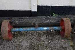 VINTAGE CAST WHEELS AND AXLE, WIDTH 98CM