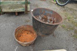 TWO CAST IRON BOWLS, ONE WITH STAND
