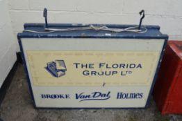 """VINTAGE DISPLAY SIGN """"THE FLORIDA GROUP LTD"""", WIDTH 107CM"""