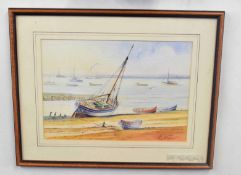 Kenneth Grant (British 20C), A sailboat and small craft beached . Watercolour, signed. Approx 8x10