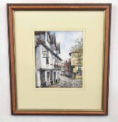 British, 20th century, An unidentified streetscape, pen and watercolour, indistinctly signed, 9 x