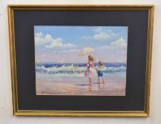 PETER WATKIN (British, contemporary), Children on a beach looking out to sea, acrylic on card,