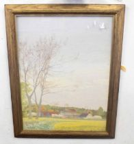JOHN AUMONIER (British, 20th century), Rural England, mixed media on board, signed, 23 x 18cm