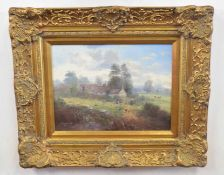 John G. Mace (British 20C) A Country Landscape . Oil on board, signed . Approx 11x15 inches.
