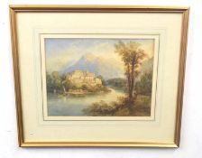 A Capriccio landscape set with architectural elements overlooking a lake . Watercolour, unsigned.