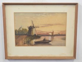 W H HUNT (British, 19th century), A Waltonian in a punt against the evening sun, watercolour,