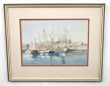 BRIAN BOWEN (British, 20th century), A set of three maritime scenes depicting ships dockside and