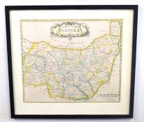 Two maps of Suffolk . Coloured prints. Provenance: The Rowley Gallery, London. Approx 15x21