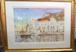 British, 20th century, Shipping at the Port of Gibraltar, watercolour on card, indistinctly