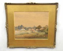 British, 20th century, A village landscape with sailing boats, watercolour on paper, 11 x 14ins