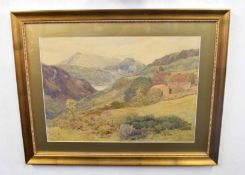British 20C, A landscape with buildings (right) and peaks in the distance . Watercolour,