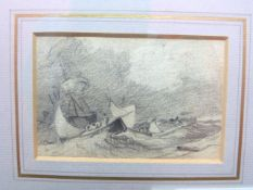 British, 19th century, two seascape sketches; one a boat with figures by the shore, the other in a