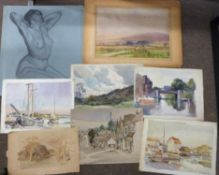 Horace Tuck (British 20C), An album of preparatory sketches and finished works in various mediums