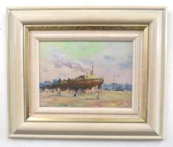 British, 20th century, an unidentified harbour scene with one ship anchored, oil on board, unsigned,