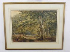 B20C, An English glade with Red deer in the distance . Watercolour, unsigned. Approx 17x24 inches.