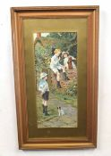 A B WHITE (British, 19th century), pair of English genre scenes depicting children and animals,