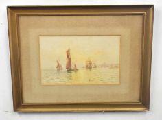 AUBREY RAMUS, (British, 20th century), various shipping vessels awaiting anchorage off the coast,