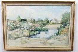 Jason Partner (British 20C) The Village of Halvergate, Norfolk. Watercolour and bodycolour, signed .