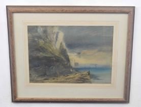 SAMUEL G PROUT (British, 19th century), an unidentified coastal view, mixed media on watercolour,