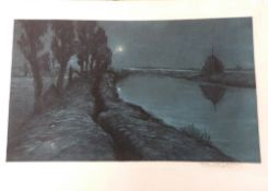 A river scene by moonlight . Coloured lithograph, indistinctly signed in pencil by the artist.