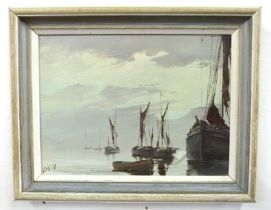 British, 20th century, Boats at anchor on still waters, oil on board, indistinctly signed, 22 x