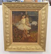 In the style of Edgar Degas (French, 19th century), a portrait of a ballerina holding a doll, oil on