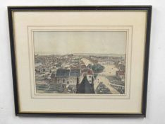 Aerial prospect view of a cityscape, coloured engraving 10 x 14ins