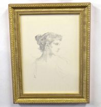 British, 19th century, A lithograph of a lady in profile dated 1894, pencil on paper,