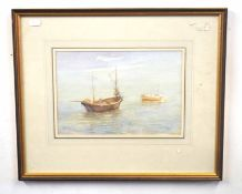 R MILLER (British, 20th century), Fishing boats off the coast, one at anchor, watercolour on
