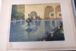 An early 20C Continental scene with figures next to a pool and fountain . Coloured lithograph,